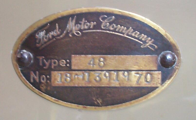 1934 ford vin plate location